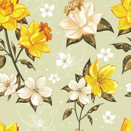 Elegant stylish spring floral seamless pattern with dots and lineart