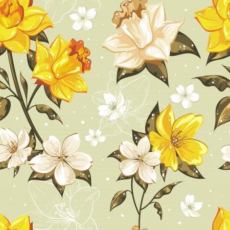 Elegante primavera con estilo floral patrón transparente con puntos y lineart Ilustración de vector