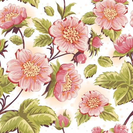 botanical drawing: Romantic feminine seamless texture with beautiful flowers, stems and leaves