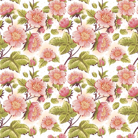 Romantic feminine seamless texture with beautiful flowers, stems and leaves Vector