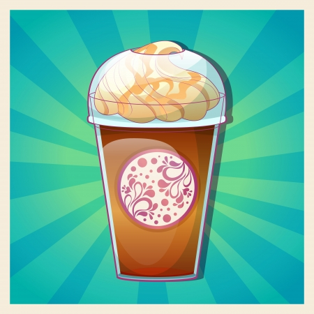 chocolate syrup: Delicious cold caramel frappe ice-cream colorful card on radial rays background