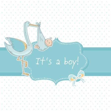 Schattige baby jongen aankondiging kaart met ooievaar en kind op polka dot blauwe achtergrond