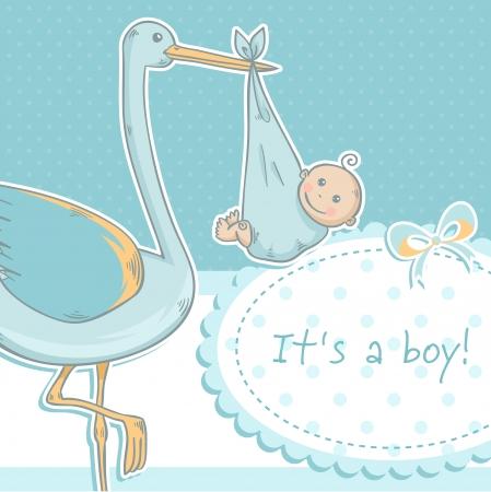 cigogne: Cute baby boy announcement card avec cigogne et enfant sur fond polka dot rose