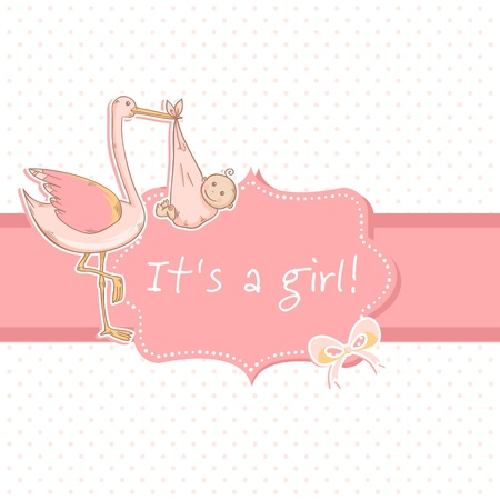 baby announcement card: Cute baby girl announcement card with stork and child on polka dot blue background