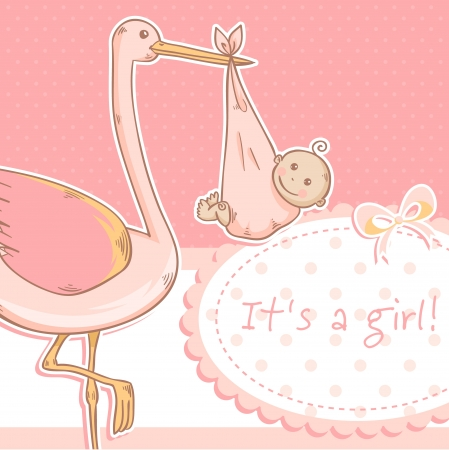 girls with bows: Cute baby girl announcement card with stork and child on polka dot pink background