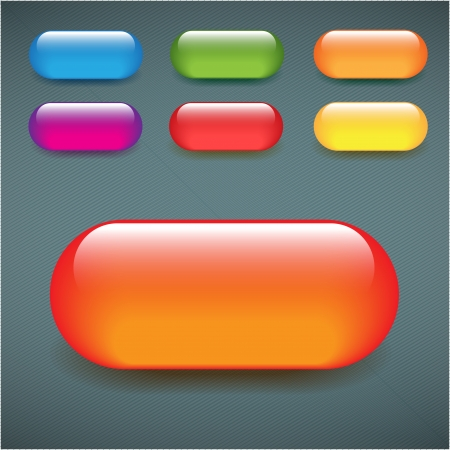Rectangular blank web buttons shiny glass colorful set Vector