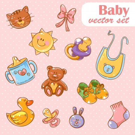 Baby toys cute cartoon set on polka dot background Vector