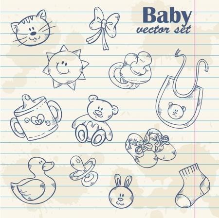 teddy bear: Juguetes para beb� lindo de la historieta fijado en fondo del grunge papel con la hoja de papel Vectores