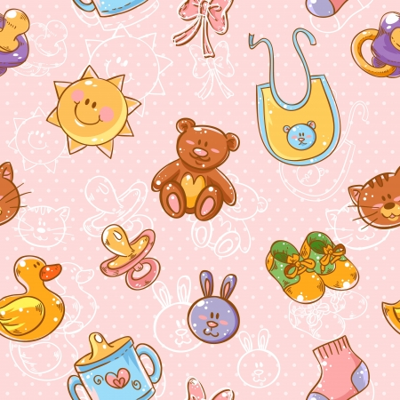 soother: Baby toys cute cartoon set on polka dot seamless pattern Illustration
