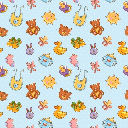 Baby toys cute cartoon set on polka dot seamless pattern Illustration