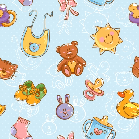 Baby toys cute cartoon set on polka dot seamless pattern Illusztráció