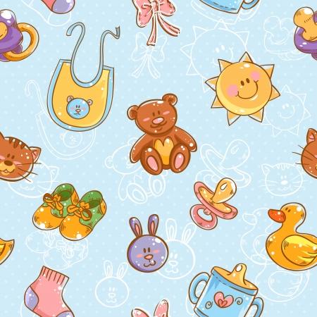 babero: Juguetes para bebé lindo de la historieta fijado en patrón de puntos polka perfecta Vectores