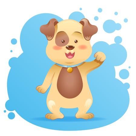 cute cartoon dog: Cute cartoon dog toy vector card