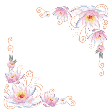 Elegant curves flower corners isolated Illustration