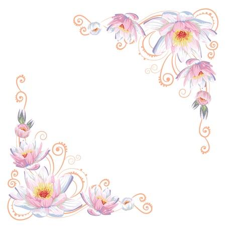 esquineros de flores: Elegante esquinas curvas flor aislada Vectores