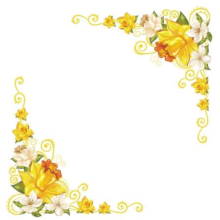 cenefas flores: Elegante esquinas curvas flor aislada Vectores