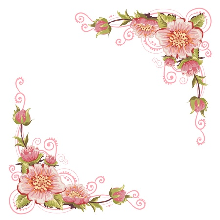 cute border: Elegant curves flower corners isolated Illustration