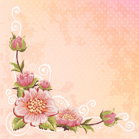 Beautiful spring floral postcard on polka dot background Vector