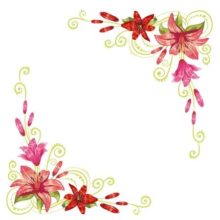 bordure floral: �l�gants coins courbes de fleurs isol�es