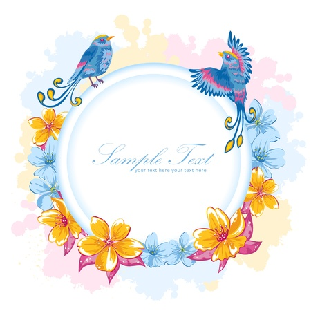 Elegant colorful flower invitation postcard with birds