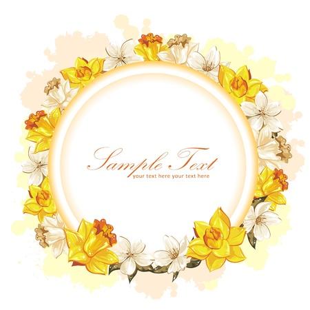 Elegante flor colorida postal de la invitación