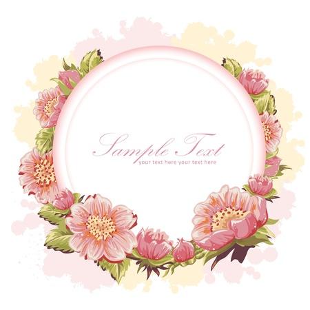 カラフルな花のエレガントな招待はがき  イラスト・ベクター素材