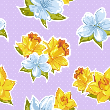 Elegant stylish spring floral seamless pattern with dots and lineart Vector