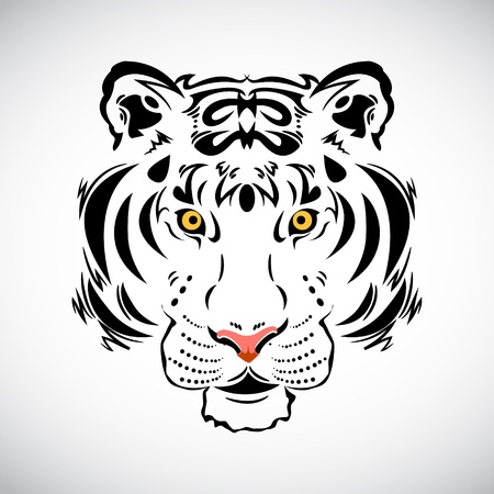 Tiger tattoo stylish ornate illustration Vector