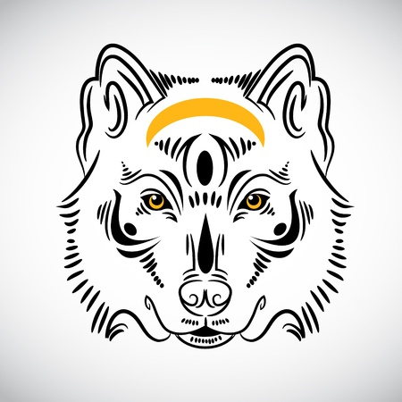Wolf tattoo stylish ornate illustration Vector