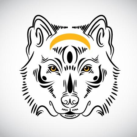 wolf face: Wolf tattoo stylish ornate illustration
