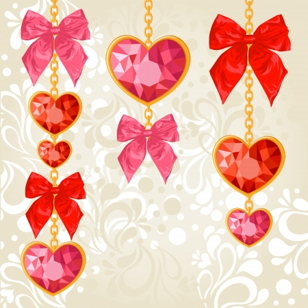 Shiny ruby heart pendants hanging on golden chains with colorful bows on floral background Vector