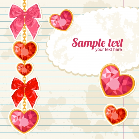 Card with Shiny ruby heart pendants hanging on golden chains with colorful bows on notebook paper background Vector