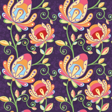 Ethnic floral seamless pattern with colorful hand-drawn flowers on ornate background