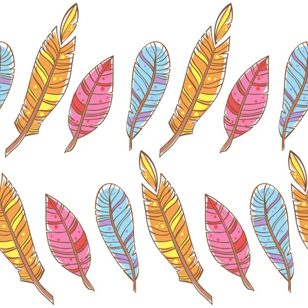 Colorful doodle feathers creative seamless pattern Stock Vector - 18843966