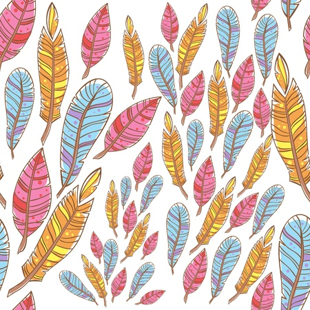 Colorful doodle feathers creative seamless pattern Stock Vector - 18843976
