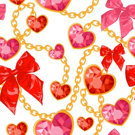 Shiny ruby heart pendants hanging with golden chains and colorful bows seamless pattern Vector
