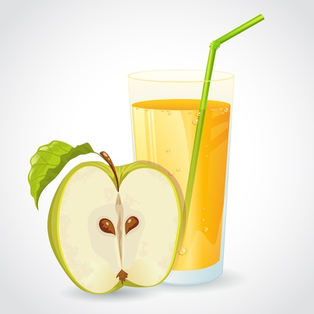 A glass of fresh apple juice and half of green apple with leaf isolated on white Illustration