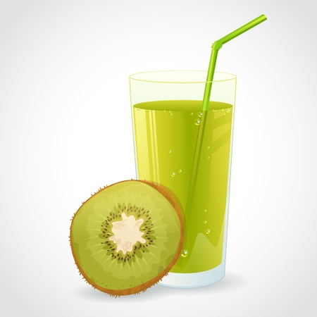 A glass of fresh kiwi juice and half of ripe kiwi isolated on white Vector