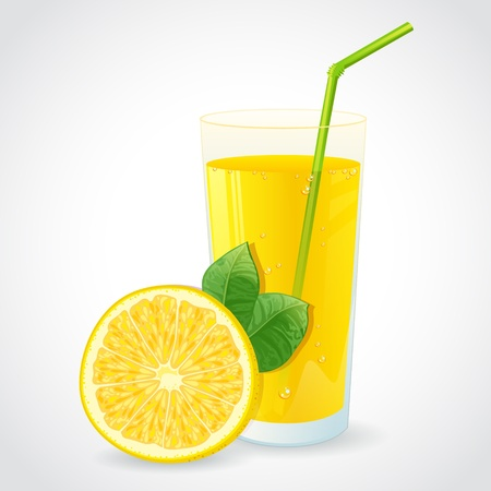 A glass of fresh lemon juice and half of yellow lemon with leaf isolated on white Vector