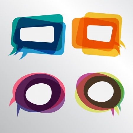 thought cloud: Colorful speech bubbles round and square layers Illustration