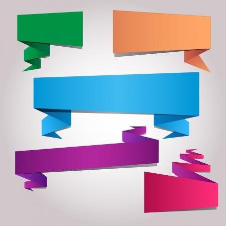 papier pli�: Papier pli� vierges mod�les de autocollant color� Illustration