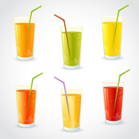 fresh juice: Colorful set of realistic glasses with juice and straw