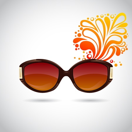 wearing: Realistic  trendy woman sunglasses on a colorful splash summer background Illustration