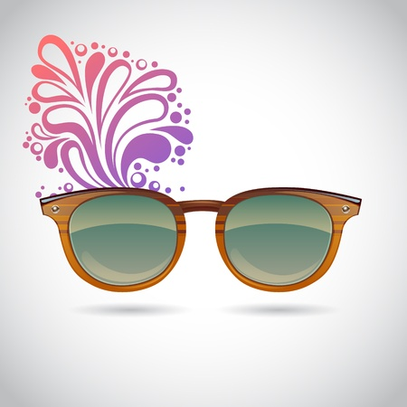 Realistic old-fashioned hipster glasses on a colorful splash summer background Stock Vector - 18960672