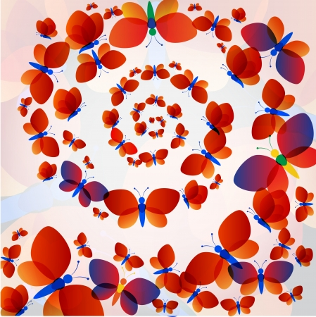 concentric circles: Colorful transparent butterflies concentric circle summer pattern