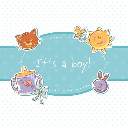 niños con pancarta: Bebé llevado enhorabuena postal dulce niño