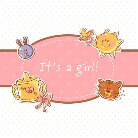 sweet baby girl: Baby born sweet girl congratulation postcard Illustration