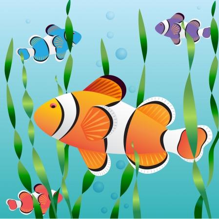 Realistic exotic colorful fish in aquarium swimming undewater