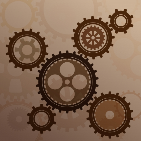 clock gears: Connected gear cogs metal silhouette on a mechanical background