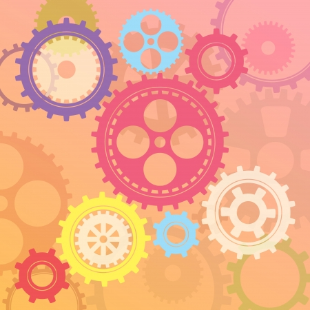 Connected gear cogs metal silhouette on a mechanical background Vector